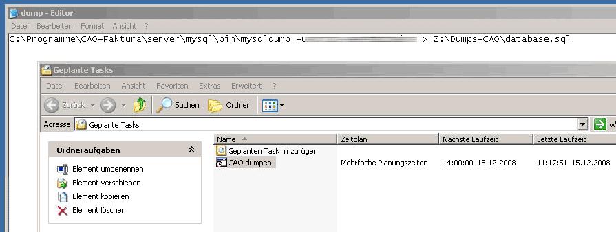 Cao Faktura Automatische Datensicherung Unter Windows Die Netztaucher