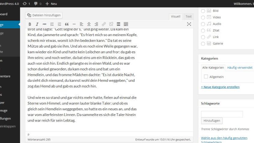 Der Editor passt sich an die Textlänge an. Die Werkzeuge scrollt mit und bleibt so in Griffweite.