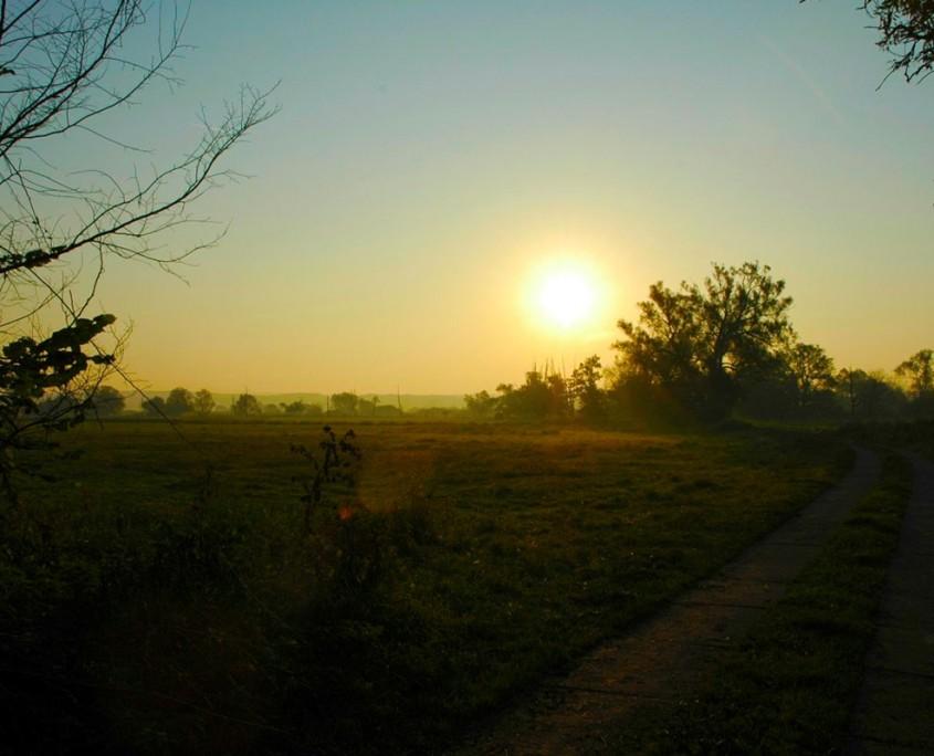 Ein schöner herbstlicher Sonnenaufgang im Unteren Odertal bei Gatow.