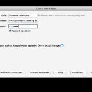 eMail-Adresse und Passwort eingeben, manuaell bearbeiten klicken.