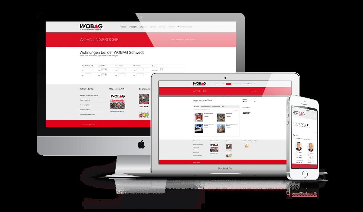 Typische Internetseite auf Basis von WordPress